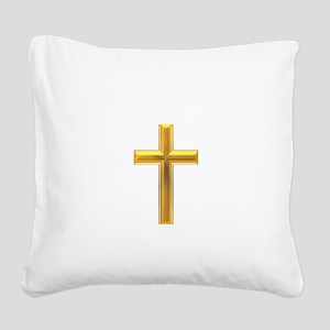 Golden Cross 2 Square Canvas Pillow