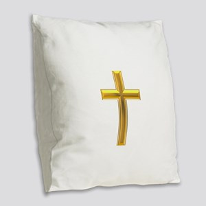 Golden Cross 2 Burlap Throw Pillow