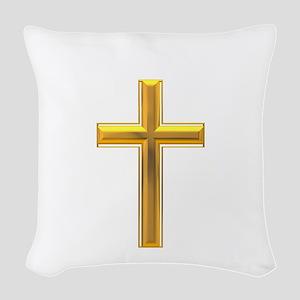 Golden Cross 2 Woven Throw Pillow