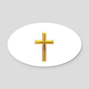 Golden Cross 2 Oval Car Magnet