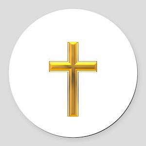 Golden Cross 2 Round Car Magnet