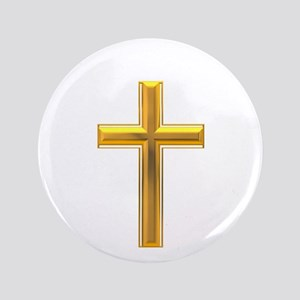 "Golden Cross 2 3.5"" Button"