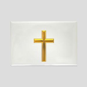 Golden Cross 2 Rectangle Magnet