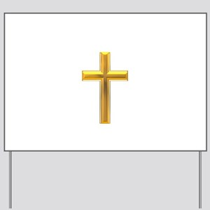Golden Cross 2 Yard Sign