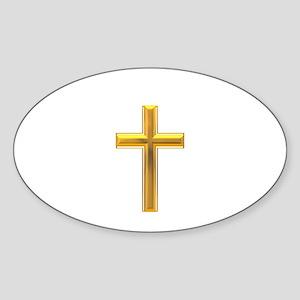 Golden Cross 2 Sticker (Oval)