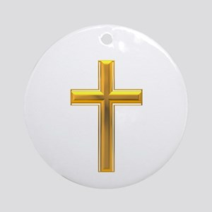 Golden Cross 2 Ornament (Round)