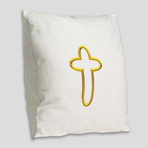 Golden Cross 3 Burlap Throw Pillow
