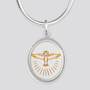 Ascent of The Holy Spirit Silver Oval Necklace