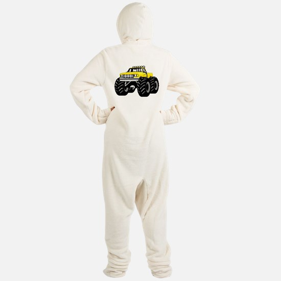Yellow MONSTER Truck Footed Pajamas
