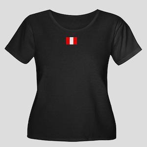 peru flag Women's Plus Size Scoop Neck Dark T-Shir