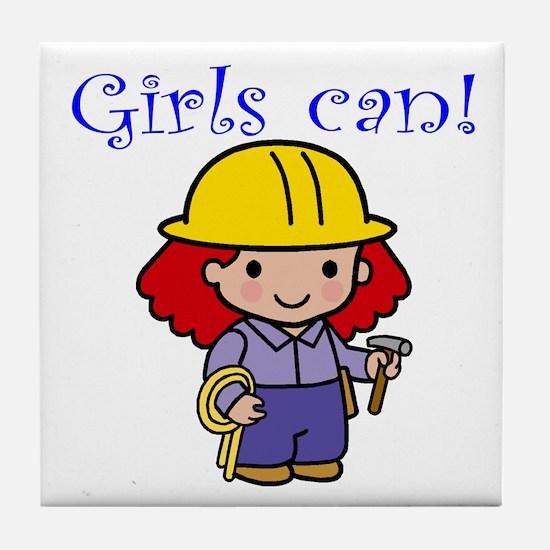 Girl Construction Worker Tile Coaster