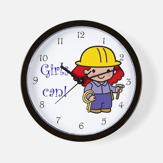 Girl Construction Worker Wall Clock
