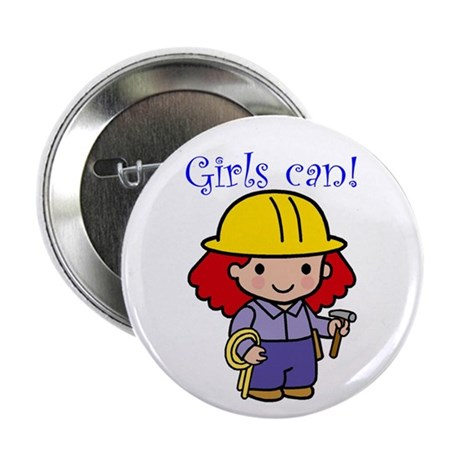 Girl Construction Worker Button