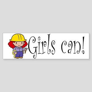 Girl Construction Worker Bumper Sticker