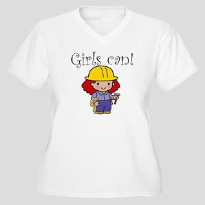 Girl Construction Worker Women's Plus Size V-Neck