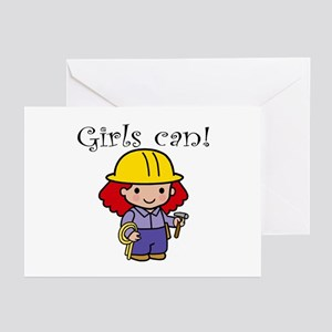 Girl Construction Worker Greeting Cards (Package o