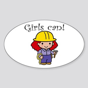 Girl Construction Worker Oval Sticker