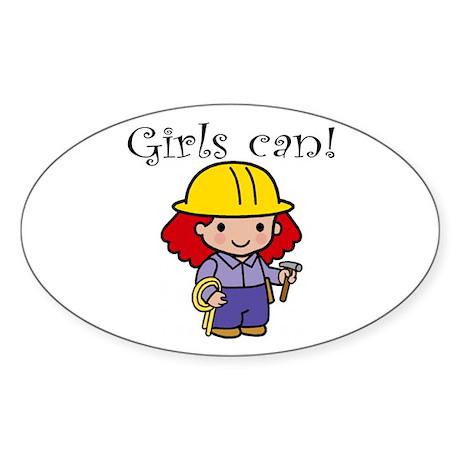 Girl Construction Worker Oval Sticker