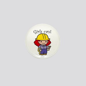Girl Construction Worker Mini Button