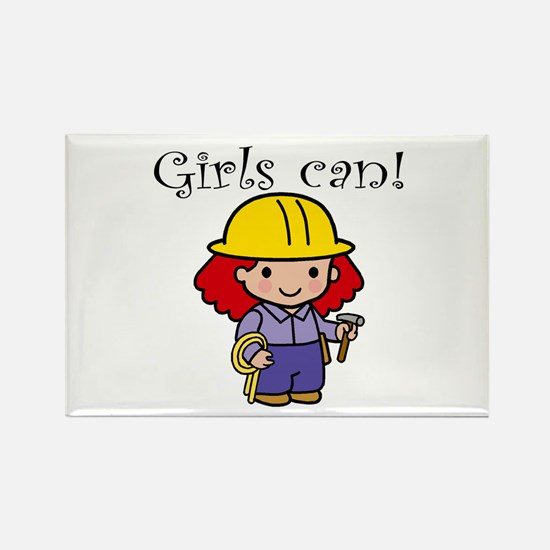 Girl Construction Worker Rectangle Magnet