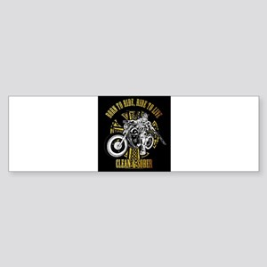 Side Biker Clean & Sober Bumper Sticker