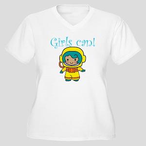 Girl Astronaut Women's Plus Size V-Neck T-Shirt