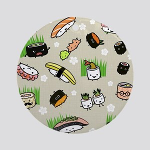 Sushi Characters Pattern Ornament (Round)