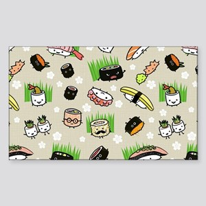 Sushi Characters Pattern Sticker (Rectangle)