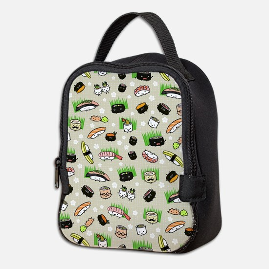 Sushi Characters Pattern Neoprene Lunch Bag
