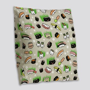 Sushi Characters Pattern Burlap Throw Pillow