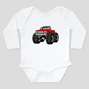 Red MONSTER Truck Long Sleeve Infant Bodysuit