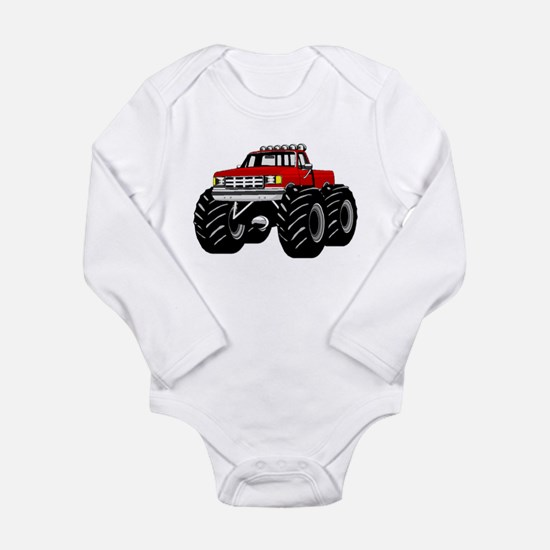 Red MONSTER Truck Long Sleeve Infant Bodysuit