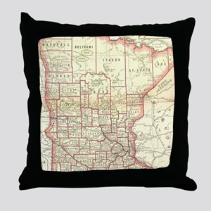 Vintage Map of Minnesota (1893) Throw Pillow