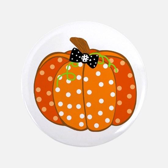 "Polka Dot Pumpkin 3.5"" Button"