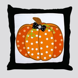 Polka Dot Pumpkin Throw Pillow