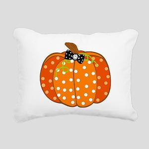 Polka Dot Pumpkin Rectangular Canvas Pillow