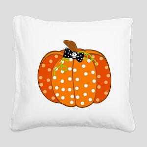 Polka Dot Pumpkin Square Canvas Pillow