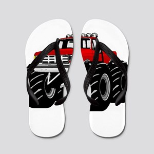 Red MONSTER Truck Flip Flops