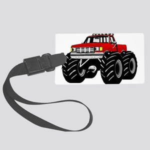 Red MONSTER Truck Large Luggage Tag