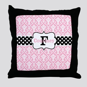 Pink Black Damask Dots Personalized Throw Pillow
