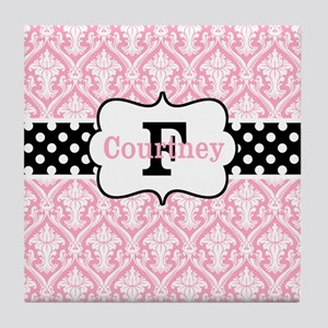 Pink Black Damask Dots Personalized Tile Coaster
