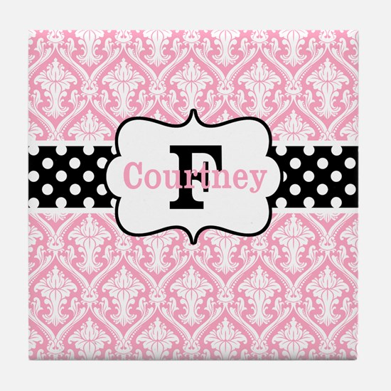 Pink Black Damask Dots Personalized Tile Coaster