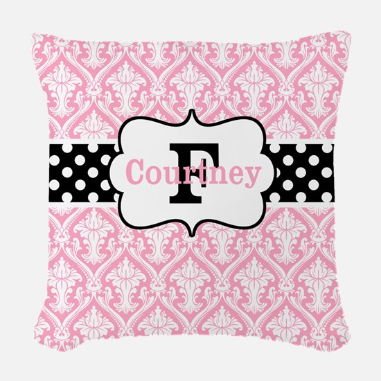 Pink Black Damask Dots Personalized Woven Throw Pi