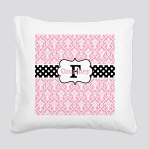 Pink Black Damask Dots Personalized Square Canvas
