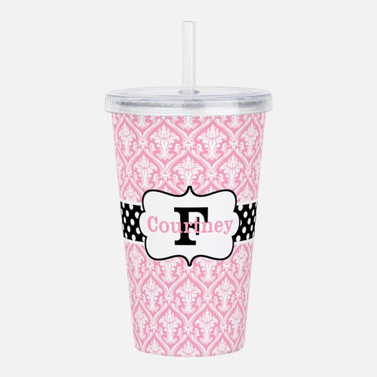 Pink Black Damask Dots Personalized Acrylic Double