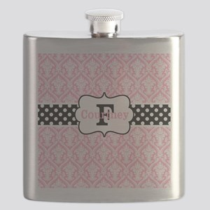 Pink Black Damask Dots Personalized Flask