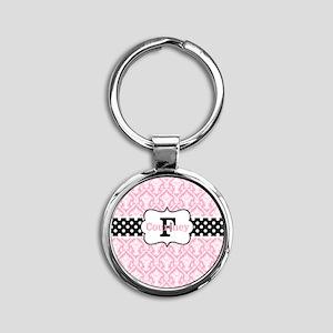 Pink Black Damask Dots Personalized Keychains