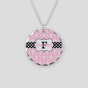 Pink Black Damask Dots Personalized Necklace