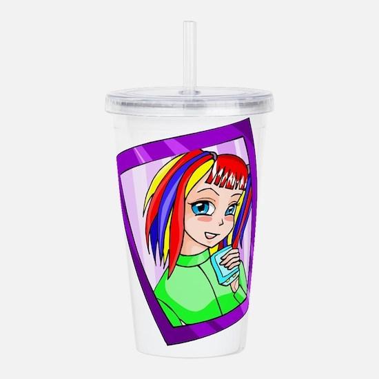 hisano has rainbow hair Acrylic Double-wall Tumble