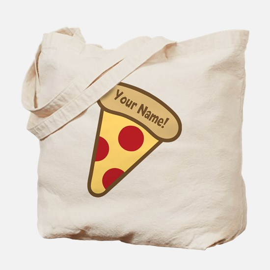 YOUR NAME Cute Pizza Tote Bag